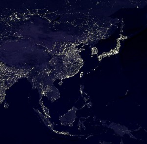 Asia at night